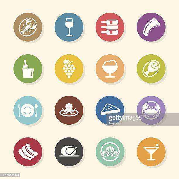 dinner icons - color circle series - steak plate stock illustrations, clip art, cartoons, & icons