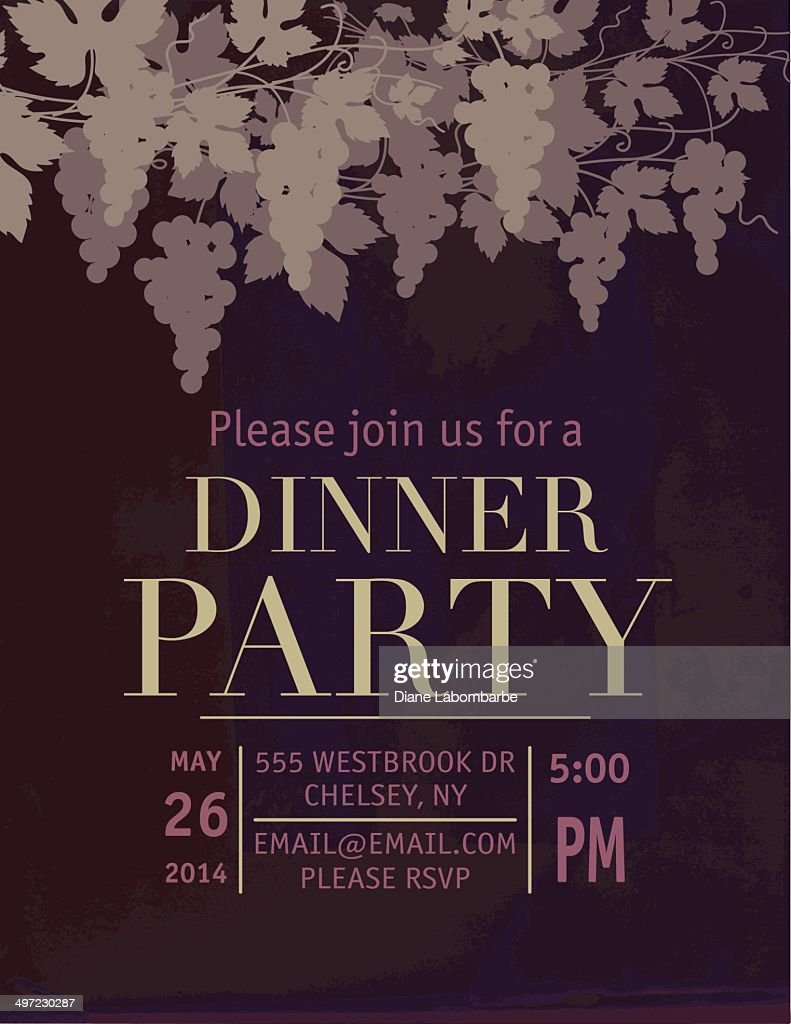Dinner Party Invitation With Grapes