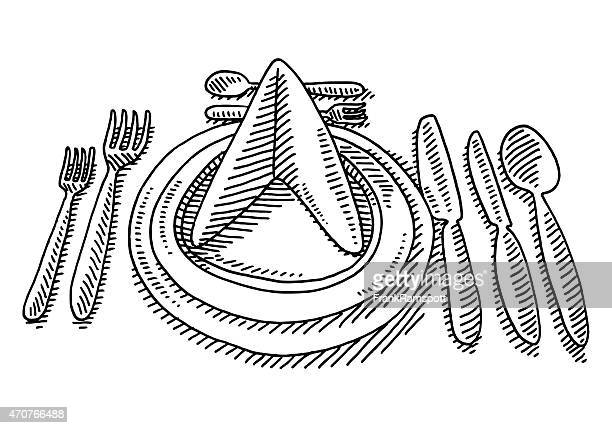 Dinner Place Setting In A Restaurant Drawing