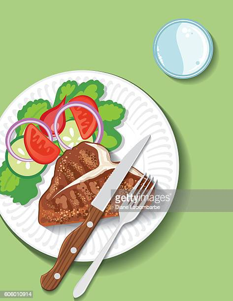 dinner plate filled with foods - steak plate stock illustrations, clip art, cartoons, & icons