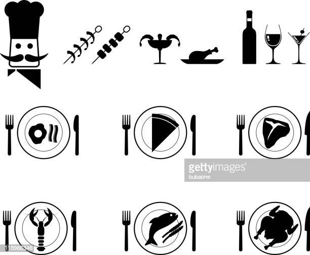 Dinner plate food and chef vector icon set in black