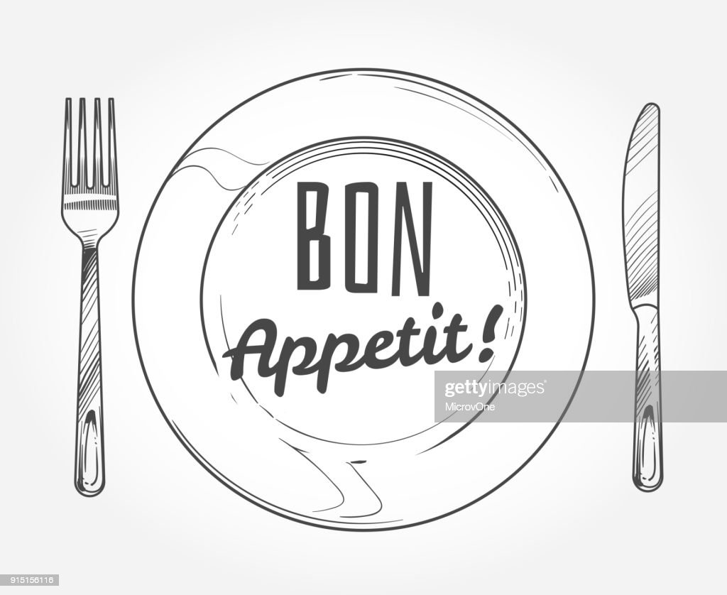 Dinner plate with knife and fork. Doodle sketch tableware and dish. Restaurant vector poster