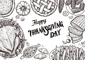Dinner table, top view. Template with vector illustrations of food for tradition Thanksgiving day menu.