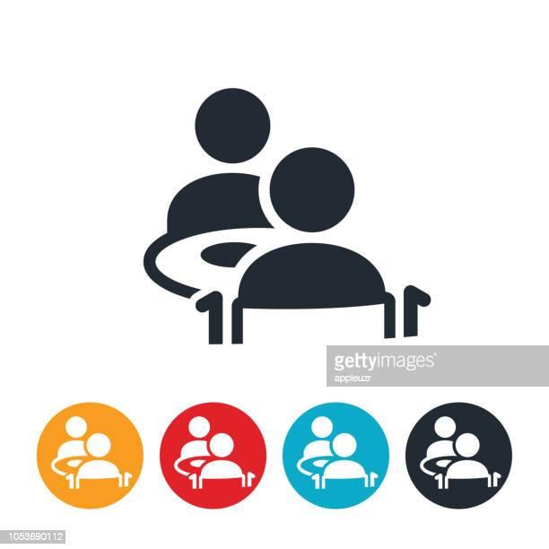 ilustraciones, imágenes clip art, dibujos animados e iconos de stock de cena con el icono de persona mayor - mesa de comedor