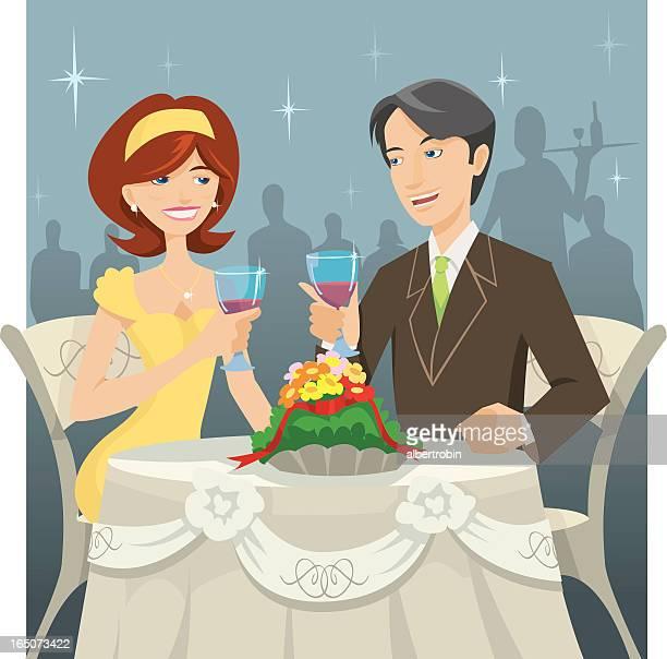 dinning - flirting stock illustrations, clip art, cartoons, & icons