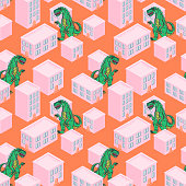 Dino monster in a pink city seamless vector pattern