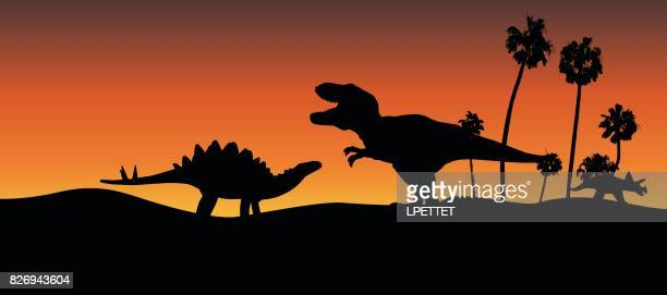 dinosaur adventure - jurassic stock illustrations, clip art, cartoons, & icons
