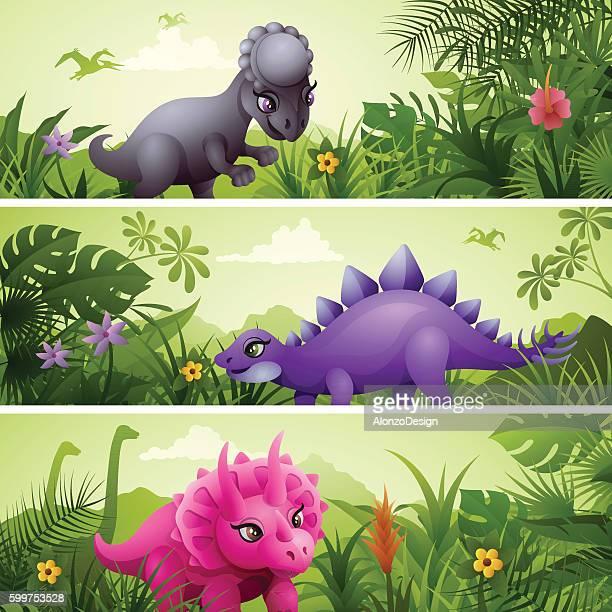 ilustraciones, imágenes clip art, dibujos animados e iconos de stock de dinosaur banners - jurásico