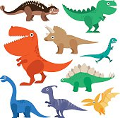 Dinosaur cartoon collection set vector illustration