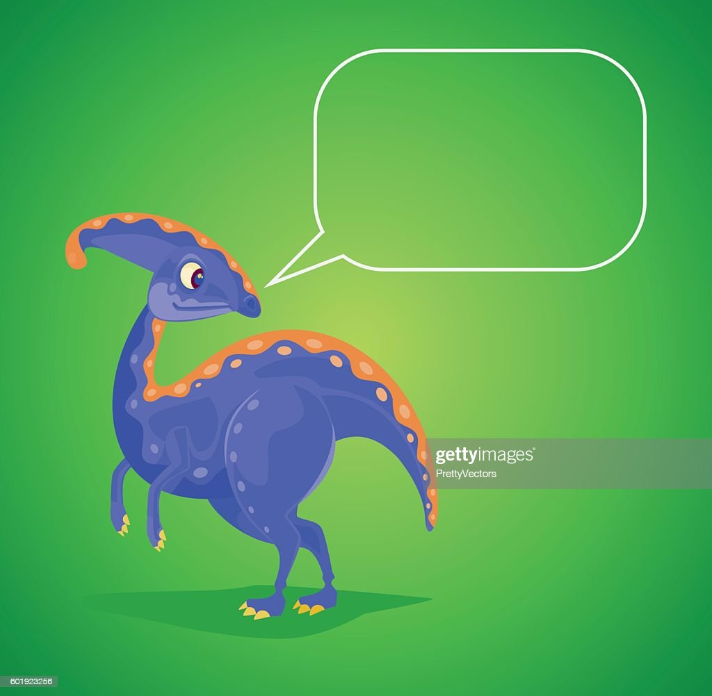 Dinosaur character with speech bubble
