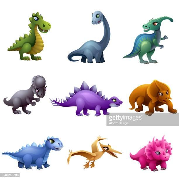 dinosaur characters - thyreophora stock illustrations, clip art, cartoons, & icons