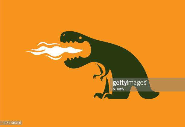 dinosaur exhaling fire - inhaling stock illustrations