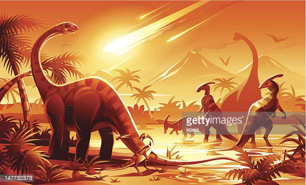 dinosaur extinction - jurassic stock illustrations, clip art, cartoons, & icons