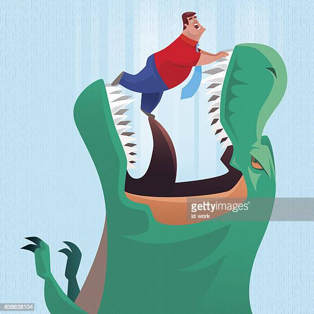 illustrations, cliparts, dessins animés et icônes de dinosaur going to eat businessman - confinement clip art