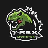 Dinosaur head icon, emblem. T-rex monster.