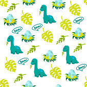Dinosaur icons in flat style for designing dino party, children holiday, dinosaurus related materials. For card, poster, banner, logo, icon. Jurassic park theme.
