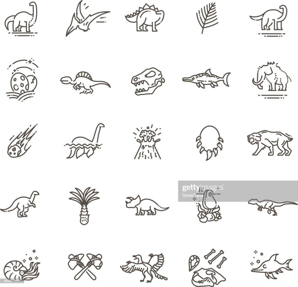 Dinosaur icons vector. Dinosaur egg and volcano, dinosaur skeleton and tyrannosaurus icons