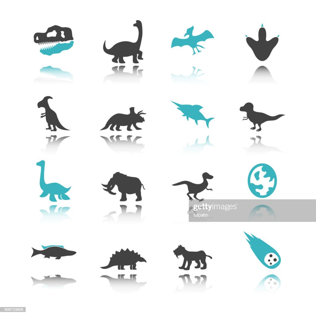 dinosaur icons with reflection