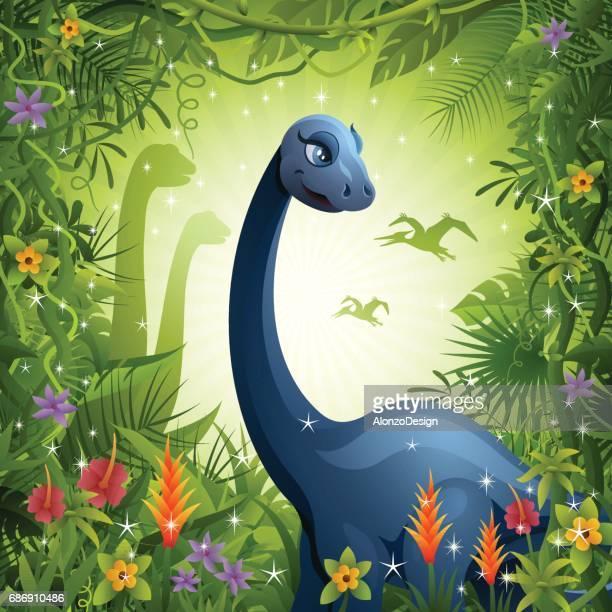 dinosaur in the jungle - jurassic stock illustrations