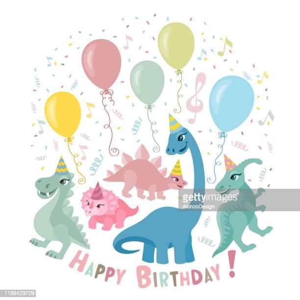 dinosaur party invitation card - thyreophora stock illustrations, clip art, cartoons, & icons