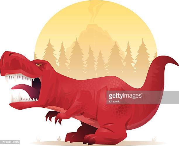 dinosaur roaring - theropod stock illustrations