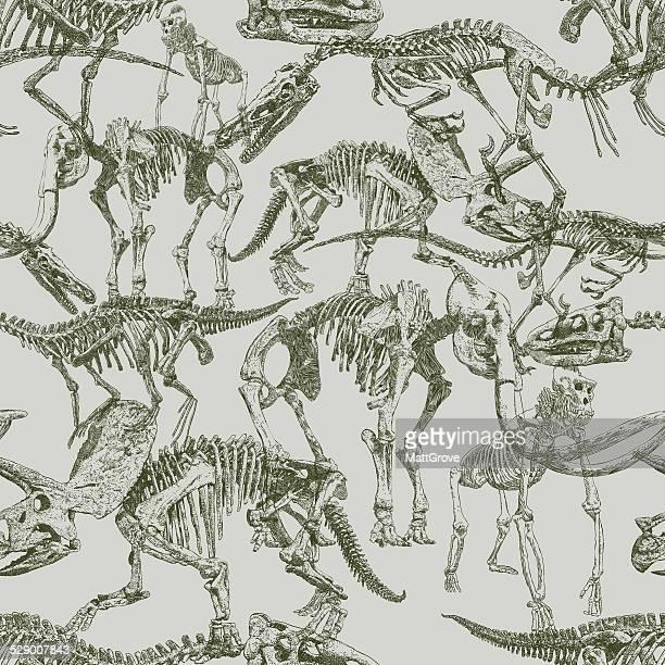 dinosaur seamless repeat - bones stock illustrations, clip art, cartoons, & icons