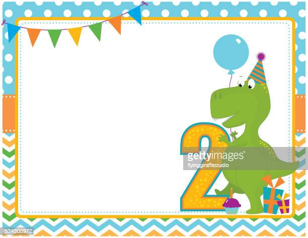 Dinosaur Second Birthday Card