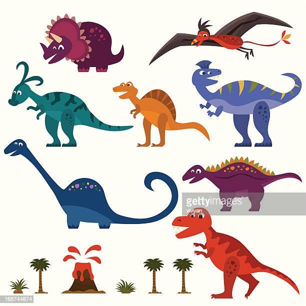 dinosaur set - dromaeosauridae stock illustrations