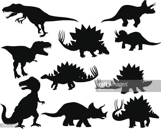dinosaur silhouettes 2 - thyreophora stock illustrations, clip art, cartoons, & icons