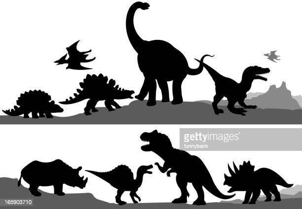 dinosaur silhouettes - theropod stock illustrations