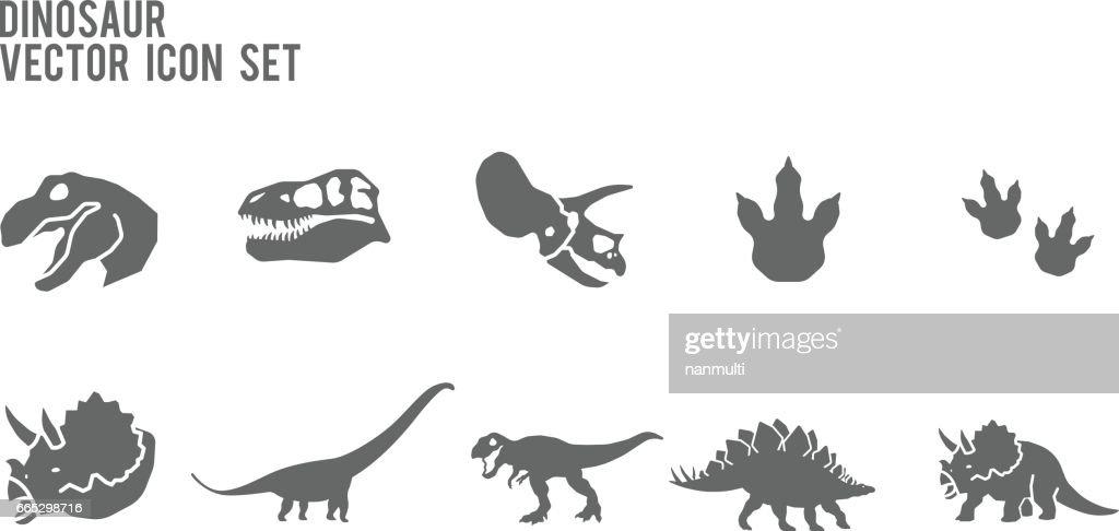 Dinosaur Skeleton Fossil Vector Icon Set