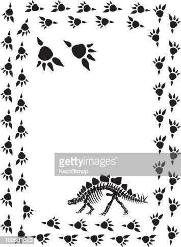 dinosaur stegosaurus and footprint frame background vector art
