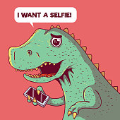 Dinosaur trying to take a selfie vector illustration.