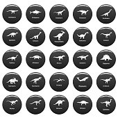 Dinosaur types signed name icons set vetor black
