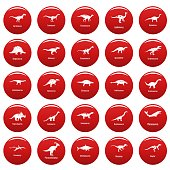 Dinosaur types signed name icons set vetor red