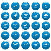 Dinosaur types signed name vector icons set blue, simple style