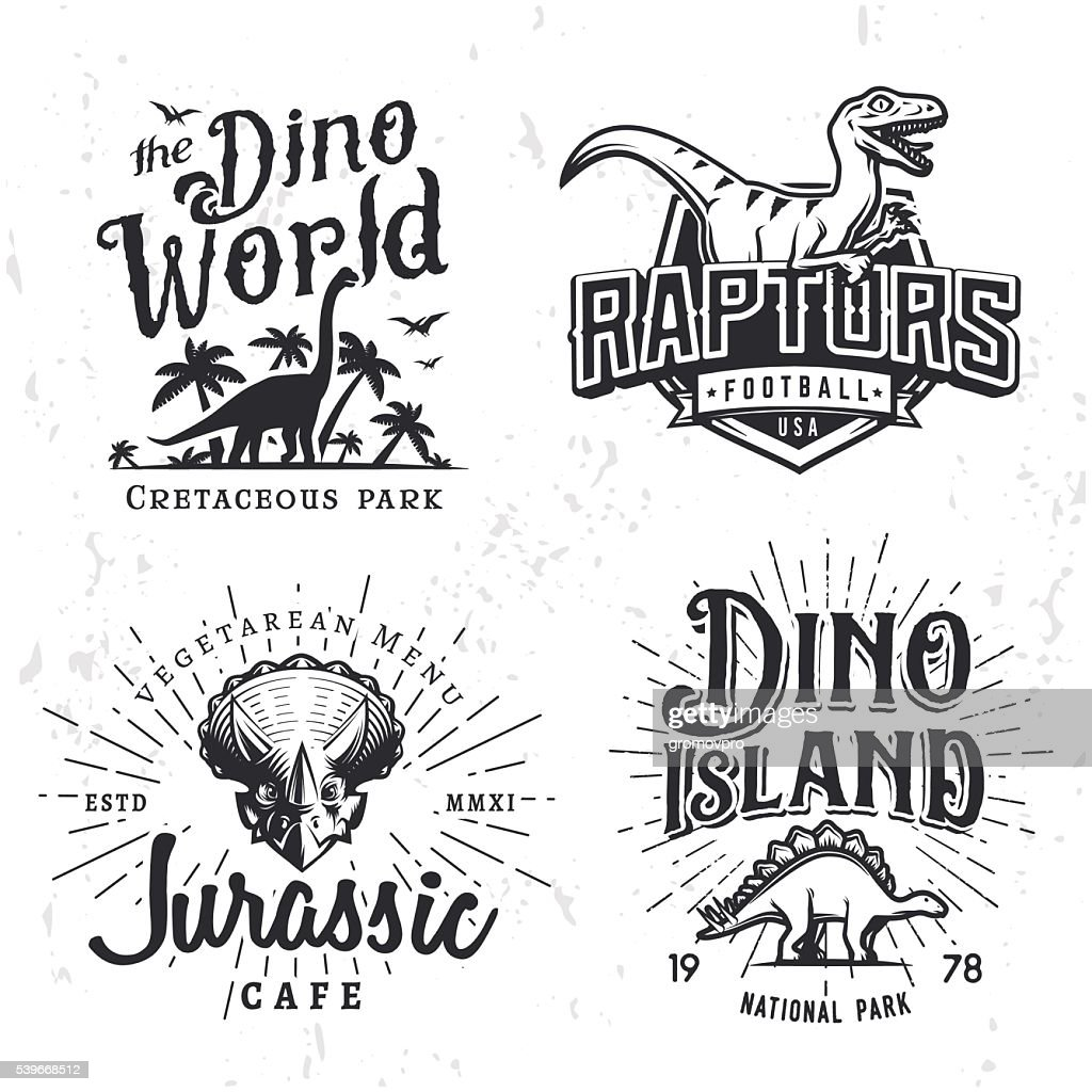Dinosaur Vector Insignia Set. Triceratops t-shirt illustration concept. Raptors