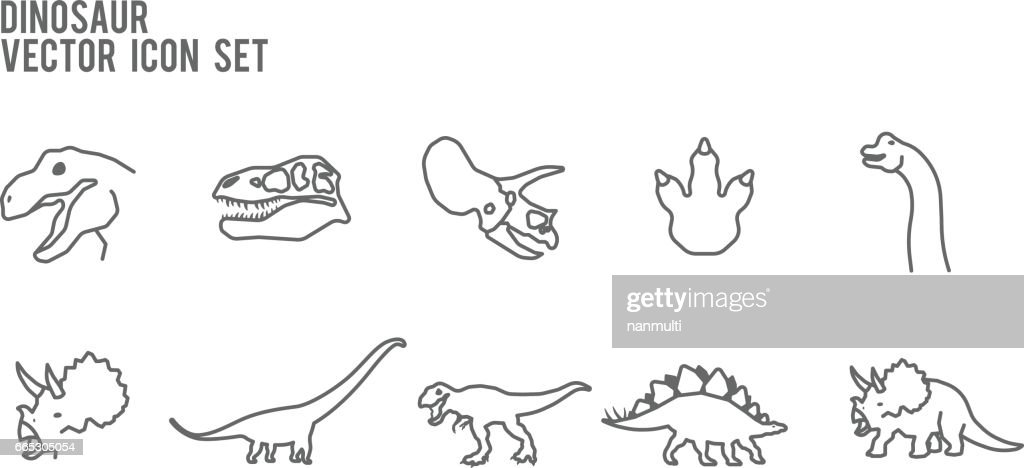Dinosaur Vector Line Icon Set