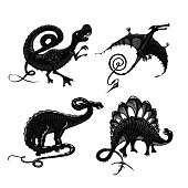 Dinosaurs black silhouette isolated on white. Tyrannosaurus, pterodactyl, stegosaurus and apatosaurus. Tattoo style.