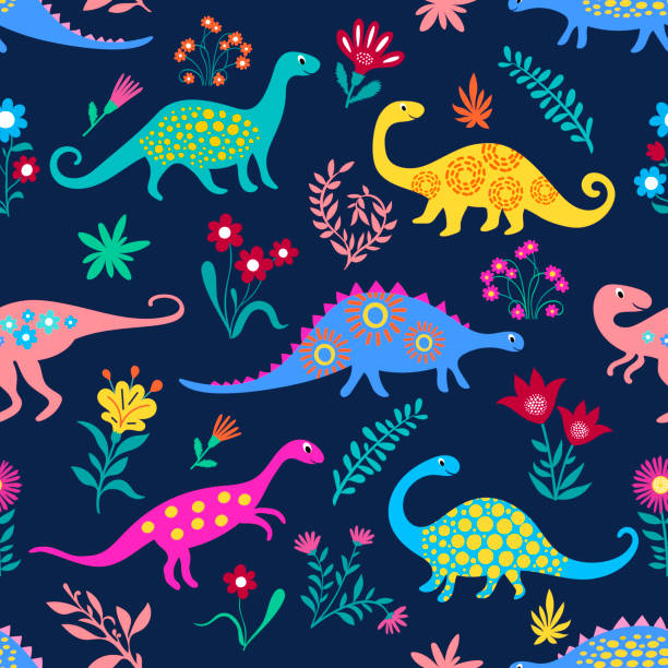 Dinosaurs Cute kids pattern for girls and boys, Colorful Cartoon Animals on the abstract seamless background, Artistic Backdrop for textile and fabric.