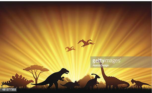 dinosaurs extinction - jurassic stock illustrations, clip art, cartoons, & icons