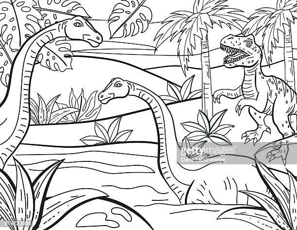 ilustrações de stock, clip art, desenhos animados e ícones de dinosaurs hand drawn adult coloring book page - dinossauro desenho
