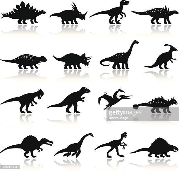 dinosaurs icon set - jurassic stock illustrations, clip art, cartoons, & icons
