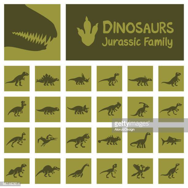 dinosaurier-icon-set - geologic time scale stock-grafiken, -clipart, -cartoons und -symbole