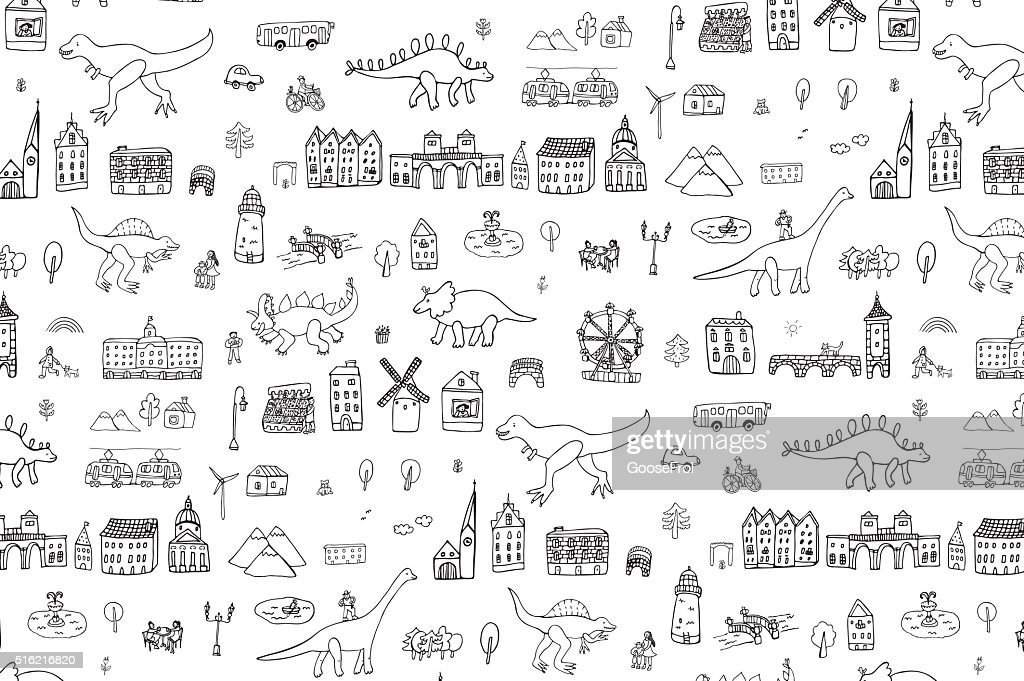 dinosaurs in the city outline hand drawing graphic pattern