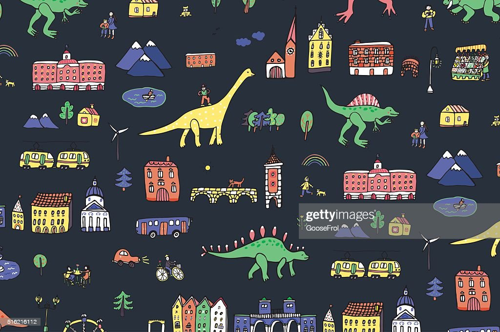 dinosaurs in the city pattern
