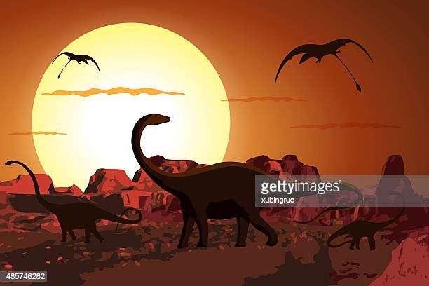 dinosaurs in the jurassic period - jurassic stock illustrations, clip art, cartoons, & icons