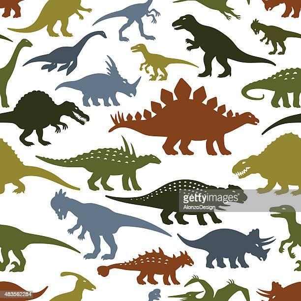 dinosaurs pattern - thyreophora stock illustrations, clip art, cartoons, & icons