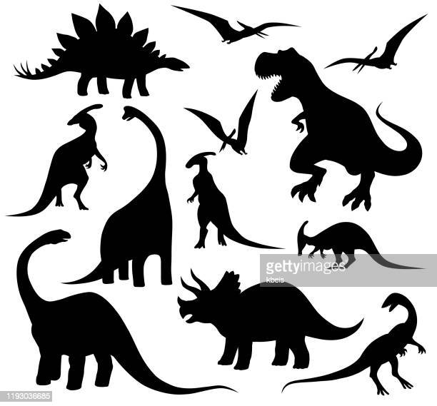 dinosaurs silhouettes set - archaeology stock illustrations