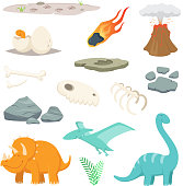 Dinosaurs, stones and other different symbols of prehistoric period